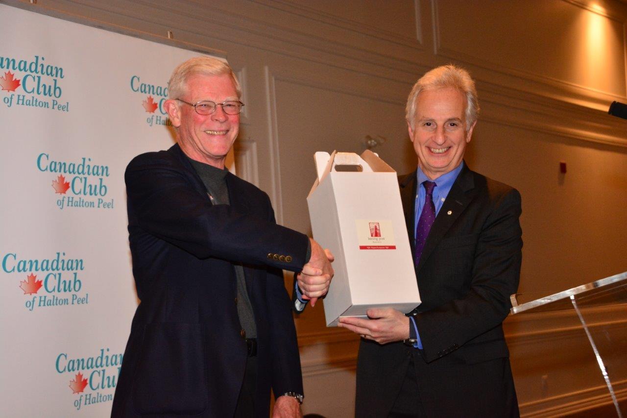 Barry Wylie thanking Dr. David Goldbloom